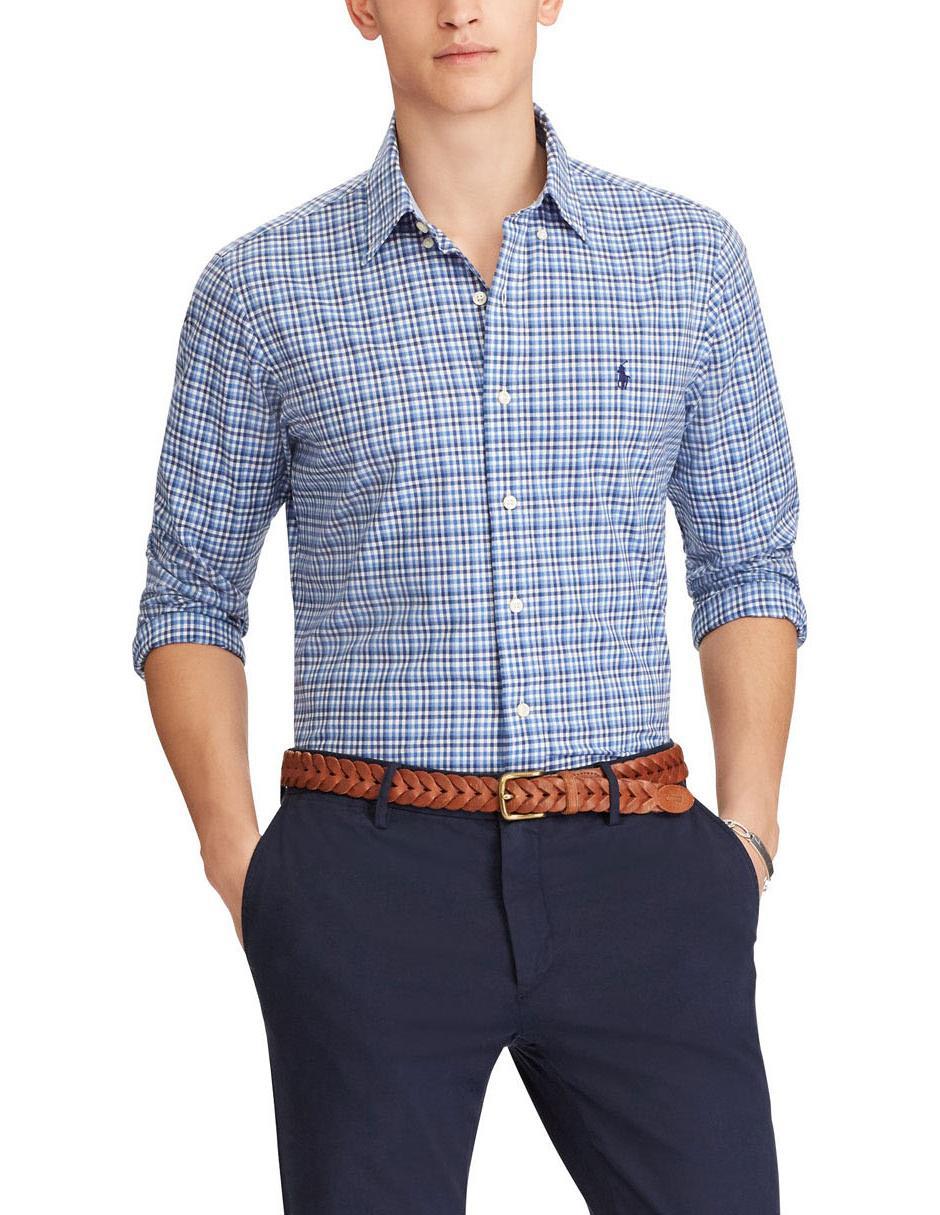 Camisa casual a cuadros Polo Ralph Lauren corte regular fit manga larga  algodón azul marino 3ae9e89ec4f
